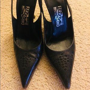 Ferragamo Black High Heels. Size 9B.